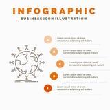 global, ?tudiant, r?seau, globe, calibre d'Infographics d'enfants pour le site Web et pr?sentation Ligne ic?ne grise avec infogra illustration de vecteur