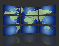 Global tv. Set of monitors that transmit over the world Royalty Free Stock Photo