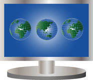 Global TV. A metaphorical illustration of a TV screen with picture of globes Stock Images