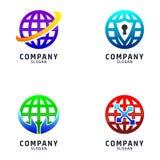 Global uppsättning av Logo Design Technology stock illustrationer