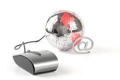 global värld för klickkommunikationer arkivbild