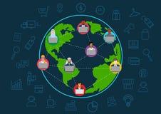 Global världsomspännande kommunikationsbegreppsillustration av affärsmannen som använder bärbar datoranteckningsboken, bärbar dat vektor illustrationer