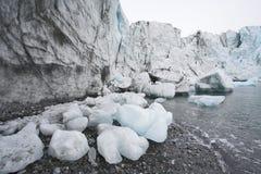 Global värme - smältande glaciärer arkivfoto