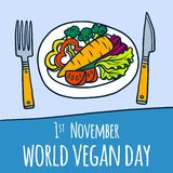 Global vegan day concept background, hand drawn style stock illustration