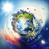 Global view of business world. World provided by NASA stock illustration