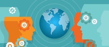 Global view world map vision Globalization leader worldwide target. Vector royalty free illustration