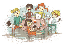 Global village cartoon with a group of youngsters playing with t stock illustration