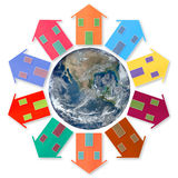 Global village concept - Ten small houses around the Earth Royalty Free Stock Images