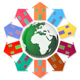 Global village concept - Ten small houses around the Earth. 