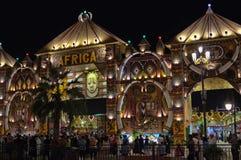 Global Village entertainment park Africa pavilion at night stock image