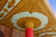 Global Vipassana Pagoda Pillar. A Pillar and ceiling with intricate design at the Global Vipassana Pagoda, Gorai, India Stock Images