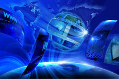 Global Virtual Gallery. Blue internet background (Global and Communication concept Royalty Free Stock Photography