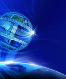 Global Virtual Gallery. Blue internet background (Global and Communication concept Royalty Free Stock Image
