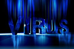 Global Virus. Cool Blue Dark  Theme Illustration. Cool Motion Blur Glowing Lights Fading Letters. Horizontal Design Royalty Free Stock Photo