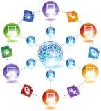 Global Viruses on Computers. Image showing viruses occurring on computers across the globe stock illustration