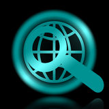 Global Vision. Magnifier and globe insignia illustration over black background Royalty Free Stock Images