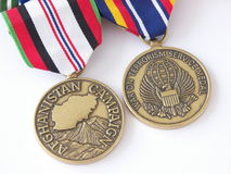 Global War on Terror. Two medals awarded for participation in Operation Enduring Freedom Stock Image
