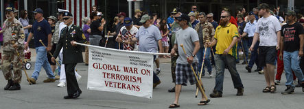 Global War on Terrorism Veterans March in Parade Royalty Free Stock Image