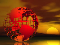 Global Warming. Red wire framed globe symbolizing global warming stock illustration
