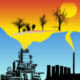 Global Warming. Background illustration showing fossil burning industries leading to globaly warm world stock illustration