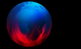 Global warming. A 3D Globe on a black background with flames Stock Photo