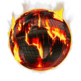 Global Warming. Fiery hot and burning globe of the world in flames on a white background Royalty Free Stock Image