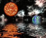 Global Warming. An earth half way sink to water and a sun up on the sky represent global warming Royalty Free Stock Image