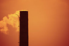 Global Warming. And smoke stacks. Filters applied to image royalty free stock photo