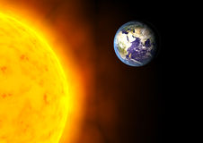 Global warming. Earth near the Sun global warming concept Stock Photo