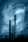 Global Warming. Power-station silhouette with smoke and steam Royalty Free Stock Photography