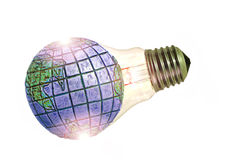 Global warming. Photo of the world and light bulb composition depicting the theme of global warming Stock Images