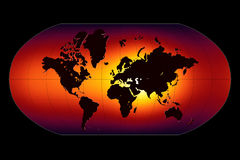 Global Warming. Map World Atlas stock illustration