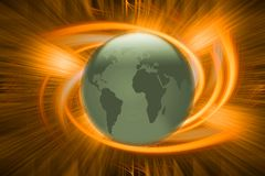 Global Warming. Illustration of 3D globe with explosion stock illustration