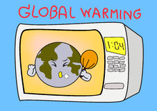 Global Warming. Cartoon Illustration of the earth threatened by global warming Stock Images