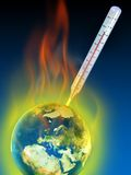 Global warming. Thermometer measuring planet earth temperature. Digital illustration stock illustration