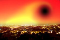 Global warming. And black hole concept stock image