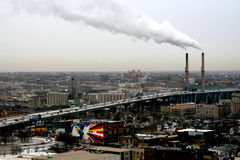 Global warming. Chimney exhausts in Milwaukee, USA Stock Photography