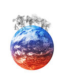 Global warming. Planet earth heating from the bottom to the top and starting to blow off the steam Royalty Free Illustration