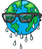 Global Warming. The Earth in Sunglasses due to global warming Royalty Free Stock Photos