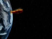 Global warming 4. A simple background of the earth and stars at night in the sky of our own universe with a severe weather system and eruption due to global Royalty Free Stock Images
