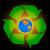 Global Warming. Protect the Earth - Americas.Conceptual recycling symbol made from earth globe and a small recycle symbol Stock Images