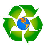 Global Warming. Protect the Earth - Americas.Conceptual recycling symbol made from earth globe and a small recycle symbol Royalty Free Stock Photos