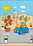 Global warming. Cartoon comics  graphics. Representing the global warming Royalty Free Stock Images