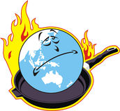 Global Warming. Globe placed in dish to warm-up Stock Photo