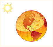 Global Warming. Over heated earth with the oceans boiling and the continents 'sweating Royalty Free Stock Photo