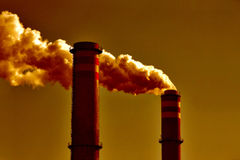 Global warming. Air pollution, smoke and chimney Stock Photos