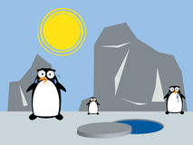 Global warming. An illustration of global warming with three penguin and sun Stock Image