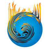 Global Warming. Fire on blue globe Stock Images