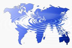 Global warming. Earth map covered by water ripples Royalty Free Stock Photos