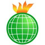Global warming. Burning globe Royalty Free Stock Image